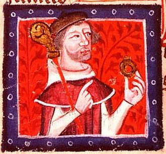 Stephen, King of England - Contemporary depiction of Stephen's brother Henry of Blois, with his bishop's staff and ring