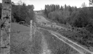 Ontario Highway 102 - Work on widening the Dawson Road and clearing a new alignment in 1935