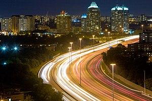 High-mast lighting - High-mast lighting used on Ontario Highway 401 at night