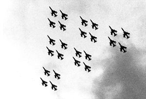 419th Fighter Wing - The 24-ship flyover formation, Diamonds on Diamonds, was used at the F-105 retirement at Hill Air Force Base in 1985