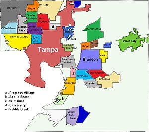 Hillsborough County, Florida - County subdivisions in Hillsborough County. Incorporated cities in bold; unincorporated CDPs in small font.