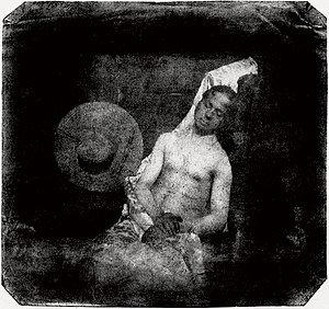 Hippolyte Bayard - Self portrait as a drowned man, direct positive print
