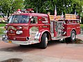 Historic American LaFrance fire truck, which took part in rescure action after September 11 attacks from the USA in Stare Tarnowice, Poland, May 2020.jpg