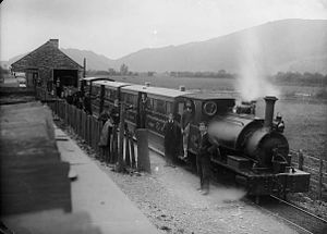Corris Railway - One of the original three locomotives with a train at Machynlleth in the 1890s