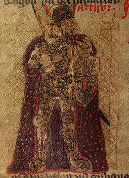 King Arthur in a crude illustration from a 15th-century Welsh version of Historia Regum Britanniae History of the Kings (f.75.v) King Arthur.jpg