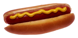 Hot dog - A cooked hot dog in a bun with mustard