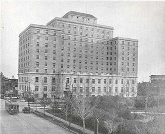 Neighbourhoods in Regina, Saskatchewan - Hotel Saskatchewan on Victoria Avenue, south side of Victoria Park, circa 1930.