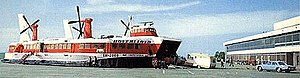 Hoverlloyd - One of Hoverlloyd's four SR.N4 hovercraft (Sir Christopher) at the Ramsgate Pegwell Bay Hoverport in the 1970s