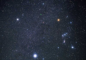 Sothic cycle - Sirius (bottom) and Orion (right). The Winter Triangle is formed from the three brightest stars in the northern winter sky: Sirius, Betelgeuse (top right), and Procyon (top left).