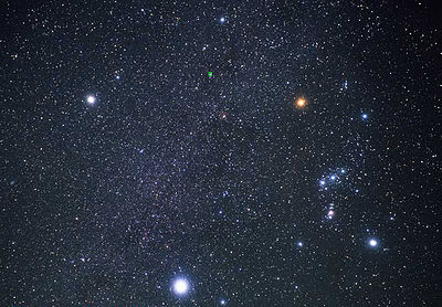 Sirius (bottom) and Orion (right). The Winter Triangle is formed from the three brightest stars in the northern winter sky: Sirius, Betelgeuse (top right), and Procyon (top left). Hubble heic0206j.jpg