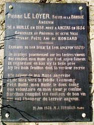 The town hall of Huillé, plaque to the memory of Pierre Le Loyer.