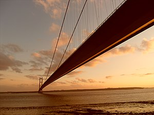 Lincolnshire - The Humber Bridge connecting North Lincolnshire to the East Riding of Yorkshire