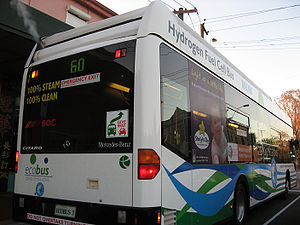 A hydrogen fuel cell public bus accelerating a...