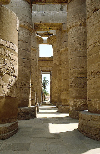 Karnak temple's hypostyle halls are constructed with rows of thick columns supporting the roof beams. - Ancient Egypt