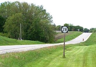 Iowa Highway 28 - Iowa 28 one mile (1.6 km) north of Martensdale