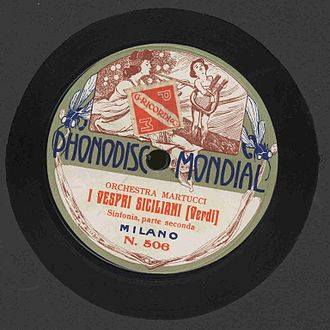 Les vêpres siciliennes - Image of a 78rpm of an aria from Giuseppe Verdi's I vespri siciliani, recorded by Phonodisc Mondial