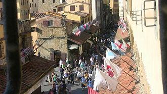 Vasari Corridor - Street view of the Ponte Vecchio as seen from the Vasari Corridor