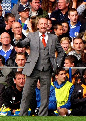 English: Ian Holloway as manager of Blackpool,...