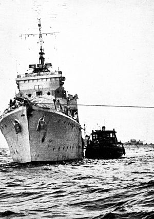 HMS Mendip (L60) - Ibrahim el Awal being towed to the port of Haifa after being captured by the Israeli Navy.