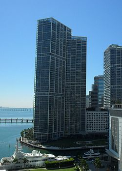 Icon Brickell North Tower from Wachovia Financial Center parking garage.jpg