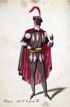 "Il bravo - Costume for the opera's protagonist ""Il bravo"" (designed for the 1840 Naples production)"
