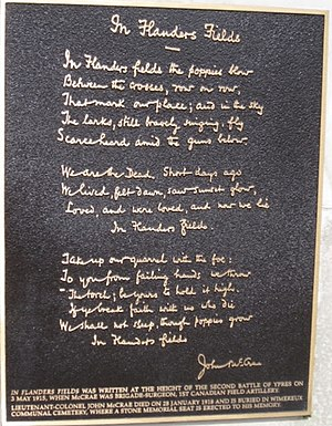 """Flanders Fields - The memorial plaque to the poem in the cenetaph in london the queen lays the first wreath """"In Flanders Fields"""""""