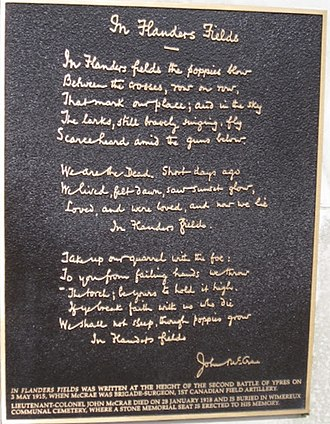 "Flanders Fields - The memorial plaque to the poem ""In Flanders Fields"""