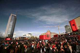 Culture of Albania - Independence Day in Pristina, Kosovo.