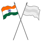 The Indian flag and another flag on crossed poles; the Indian flag is at the left.