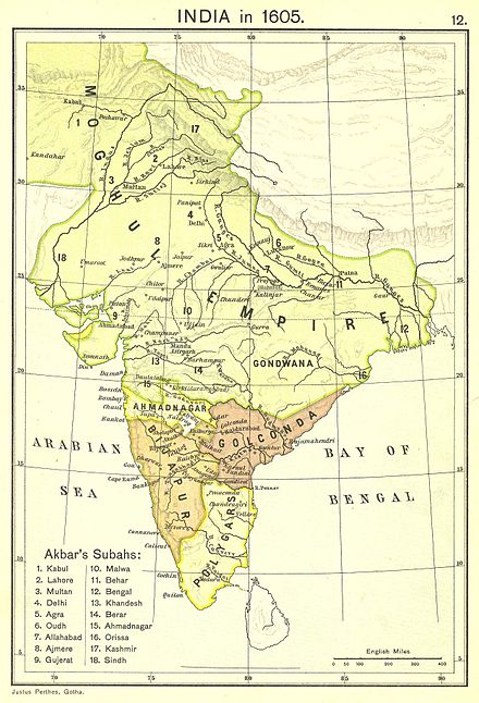 Mughal Empire under Akbar's period (yellow) India in 1605.jpg
