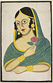 Indian courtesan, head and shoulders, a rose in her hand - Anon, c.1880 - BL Add.Or.1879.jpg