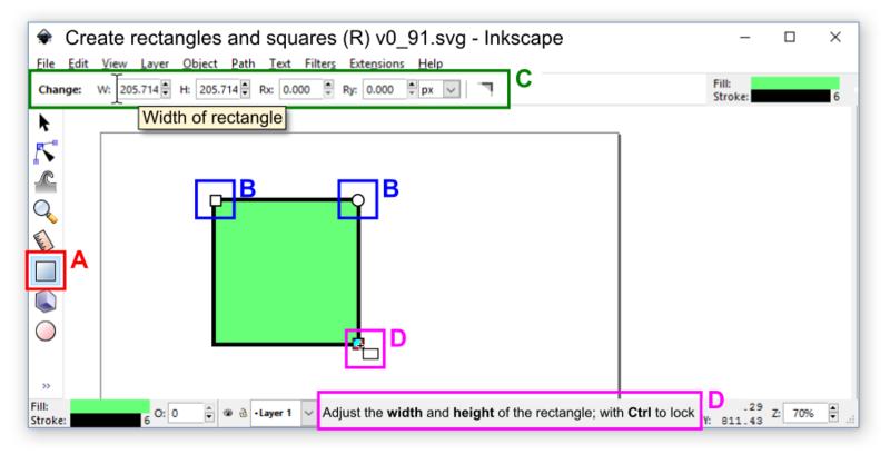 Inkscape v0.91 rectangles squares tool