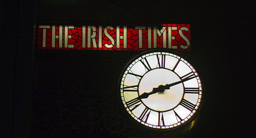 The Irish Times Clock, originally mounted on the D'Olier Street building moved with the newspaper to the Tara Street offices in 2006. Ireland Victor Grigas 2011-19.jpg