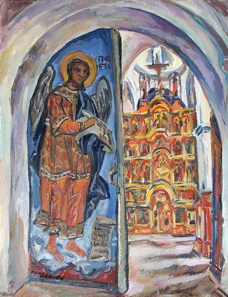 Файл:Irina Azizyan Christmas cathedral. Introduction in the temple. Kargopol 1988.jpg