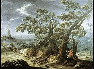 Antonio Diziani - Image: Italian Landscape with Figures in a Storm Walters 37353