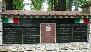 Italy–Poland relations - Plaque commemorating Italian volunteers who fought in January Uprising. Olkusz