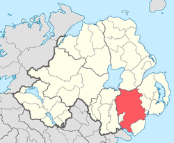 Location of the former barony of Iveagh, County Down, in present-day Northern Ireland. It was based on the Irish district of Uíbh Eachach