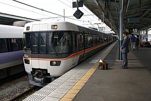 Matsumoto Station - Image: JR Central 383 on Shinano limited express train service at Matsumoto Station 20070923