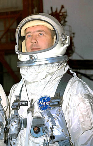 James McDivitt - McDivitt poses in his space suit for the Gemini 4 mission