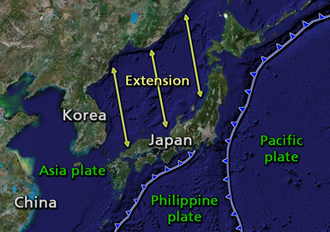 Back-arc basin - The islands of Japan were separated from mainland Asia by back-arc spreading