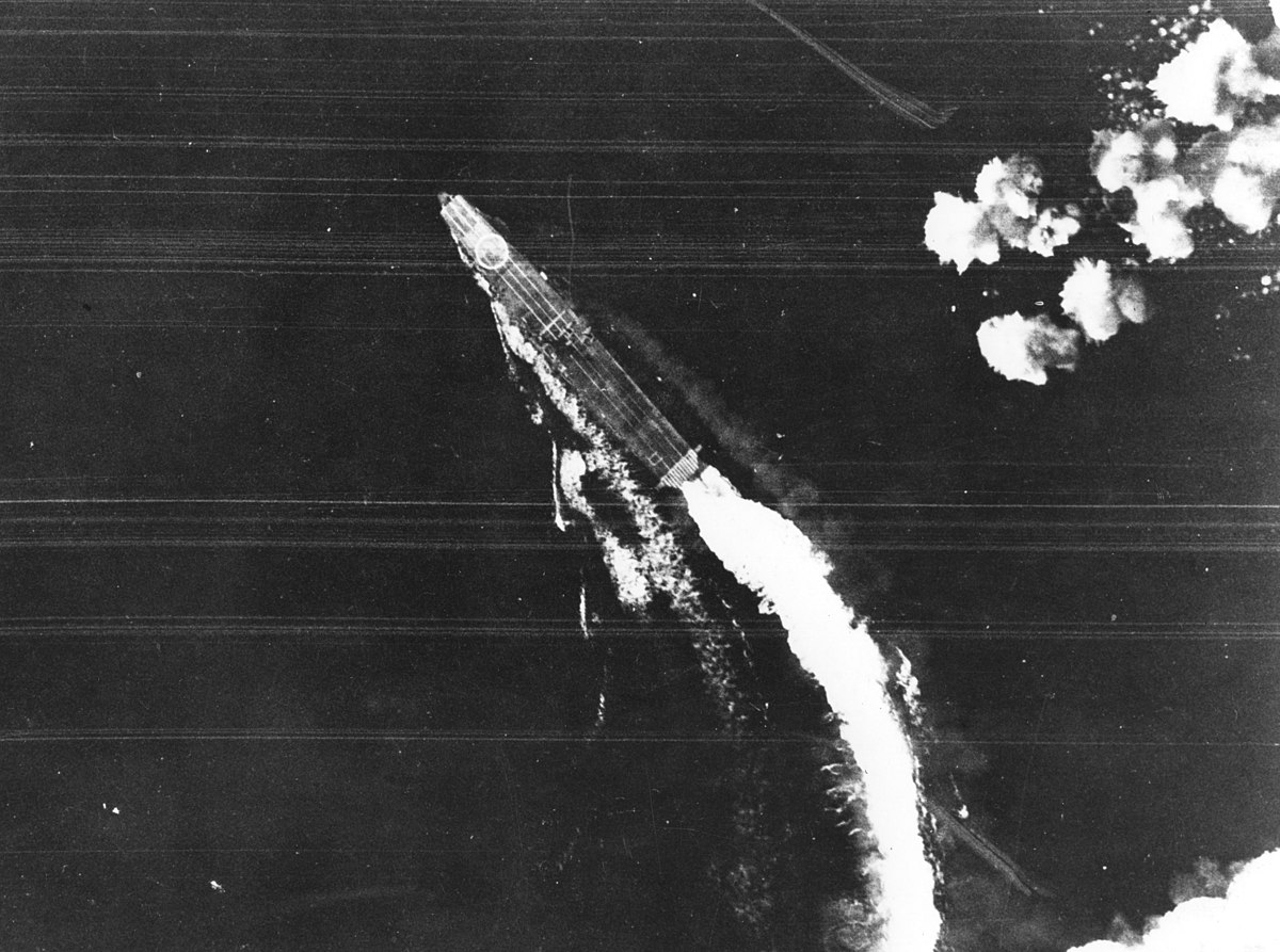 Japanese aircraft carrier Hiryu maneuvers to avoid bombs on 4 June 1942 (USAF-3725).jpg