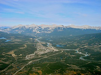 Jasper, Alberta - View of Jasper from the summit of The Whistlers