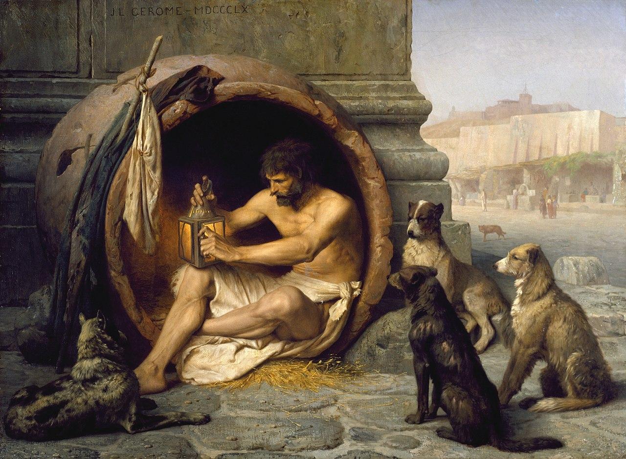 Diógenes sentado em seu barril cercado por cães. Pintura de Jean-Léon Gérôme de 1860
