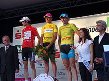 0eb022f0341fc Schleck on the podium as wearer of the mountains jersey after Stage 1 of  the 2006 3-Länder-Tour in Kassel