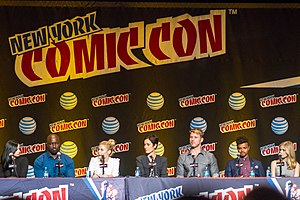 Jessica Jones (TV series) - Cast of Jessica Jones at the 2015 New York Comic Con. (L to R: Ritter, Colter, Taylor, Moss, Traval, Darville, Moriarty)