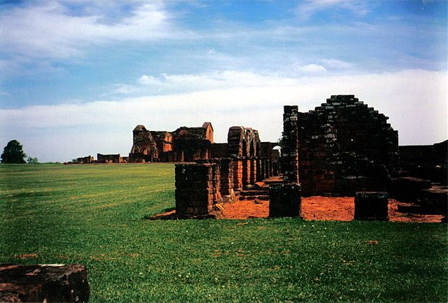 Ruins of La Santisima Trinidad de Parana mission in Paraguay, founded by Jesuits in 1706 Jesuit ruins at trinidad.jpg