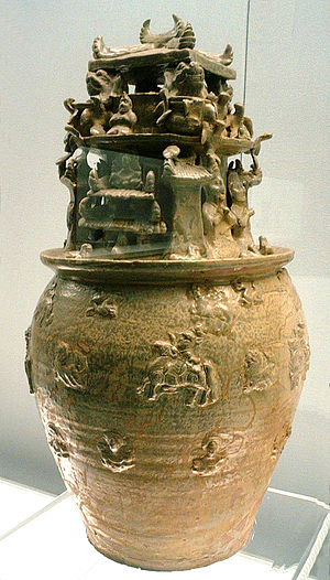 Jin dynasty (265–420) - Hunping jar of the Western Jin, with Buddhist figures.