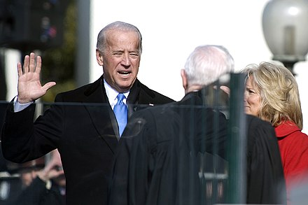 Biden is sworn into office by Associate Justice John Paul Stevens, January 20, 2009 Joe Biden sworn in 1-20-09 hires 090120-N-0696M-204a.jpg