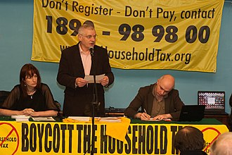 Socialist Party (Ireland) - Socialist Party TDs Clare Daly (left) and Joe Higgins (centre), pictured here during the Boycott the Household Tax campaign in January 2012, were jailed for their part in the Anti-Bin Tax Campaign.