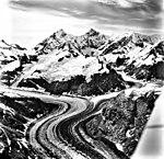 Johns Hopkins Glacier, tidewater glacier with wide medial moraines and haning glaciers, August 27, 1969 (GLACIERS 5498).jpg